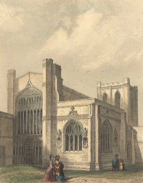 Associate Product CHESHIRE. Chester Cathedral, SW view 1850 old antique vintage print picture