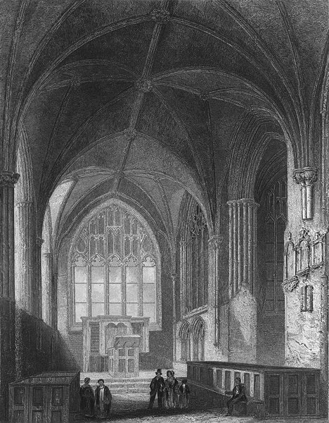 Associate Product CHESHIRE. Chester Cathedral, Lady Chapel 1860 old antique print picture