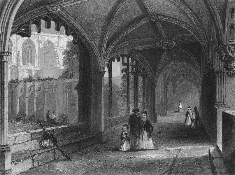 Associate Product CHESHIRE. Chester Cathedral, Cloisters 1860 old antique vintage print picture