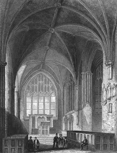 Associate Product CHESHIRE. Chester Cathedral Lady Chapel 1836 old antique vintage print picture
