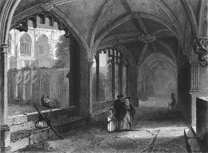Associate Product CHESHIRE. Chester Cathedral Cloisters 1836 old antique vintage print picture