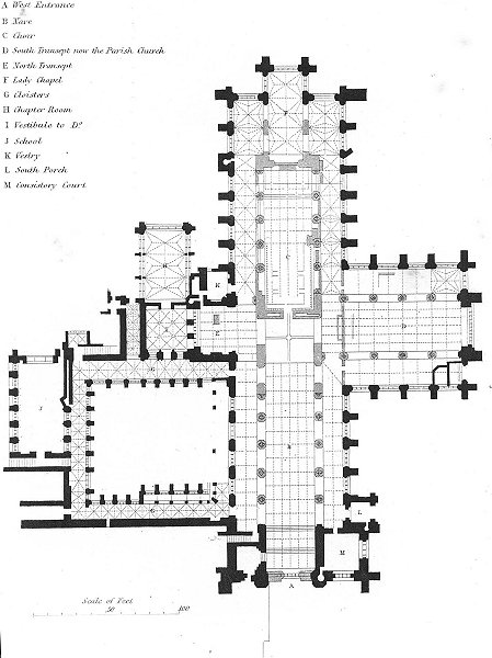 Associate Product CHESHIRE. Plan Chester Cathedral 1836 old antique vintage print picture