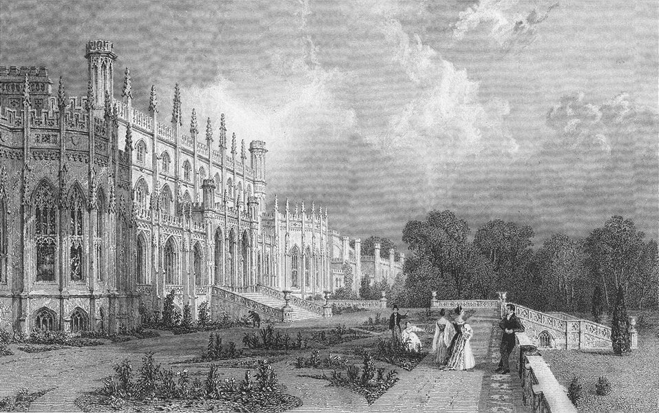 Associate Product CHESHIRE. East Eaton Hall. Allom 1836 old antique vintage print picture