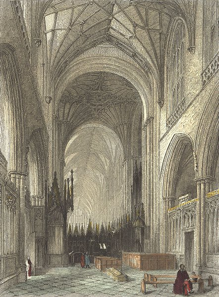 Associate Product HANTS. Winchester Cathedral choir 1836 old antique vintage print picture