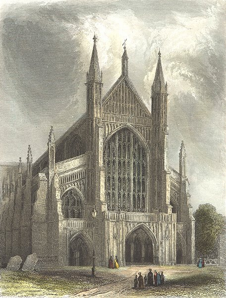 Associate Product HANTS. Winchester Cathedral 1836 old antique vintage print picture