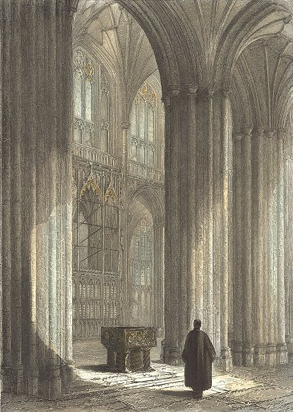Associate Product WINCHESTER. Cathedral nave, font Wykeham's Monument 1836 old antique print