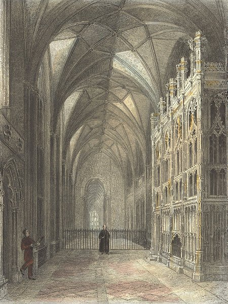 Associate Product WINCHESTER. Cathedral Choir Bishop Fox monument 1836 old antique print picture
