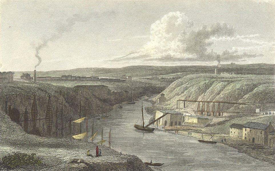 Associate Product DURHAM. River above Sunderland bridge. Westall c1833 old antique print picture