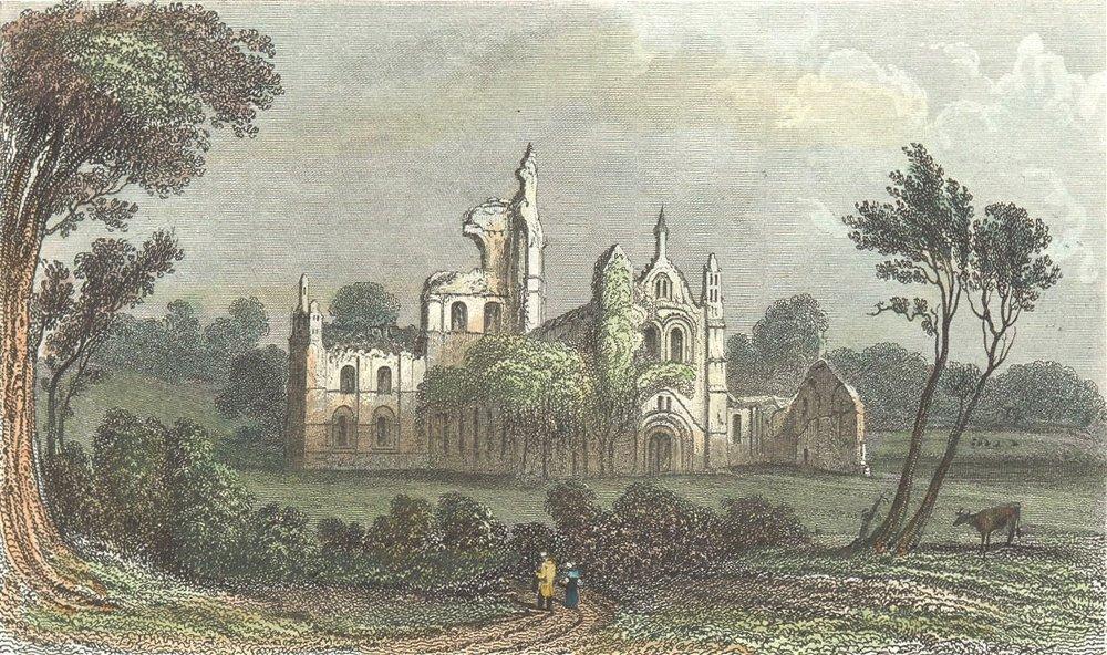Associate Product YORKS. Kirkstall Abbey, Leeds. DUGDALE 1835 old antique vintage print picture