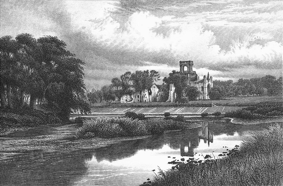 Associate Product YORKS. Kirkstall Abbey. Barbner sepia 1895 old antique vintage print picture