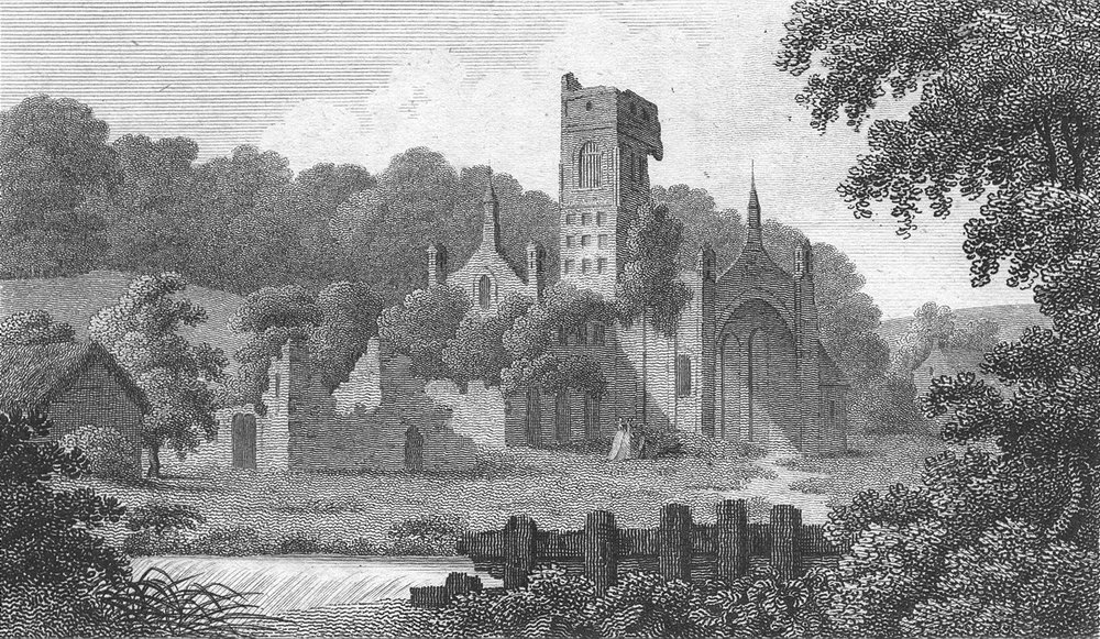 YORKS. Kirkstall Abbey. Lackington 1804 old antique vintage print picture