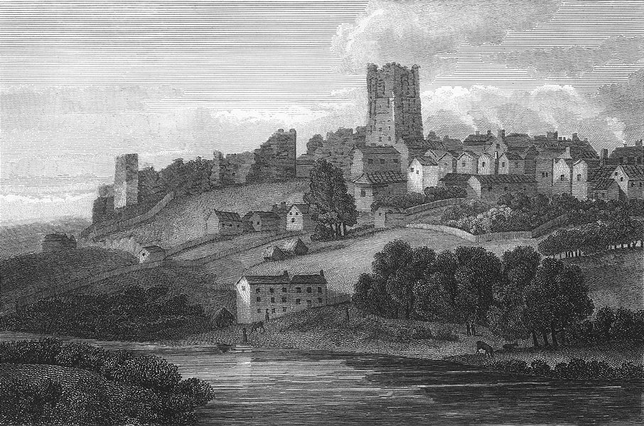Associate Product YORKS. Richmond. Walker Girtin. Castle 1854 old antique vintage print picture