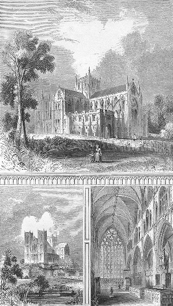 Associate Product YORKS. Ripon Cathedral. West view; Choir. Bentley 1860 old antique print