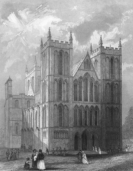 Associate Product YORKS. Ripon Cathedral NW view 1836 old antique vintage print picture
