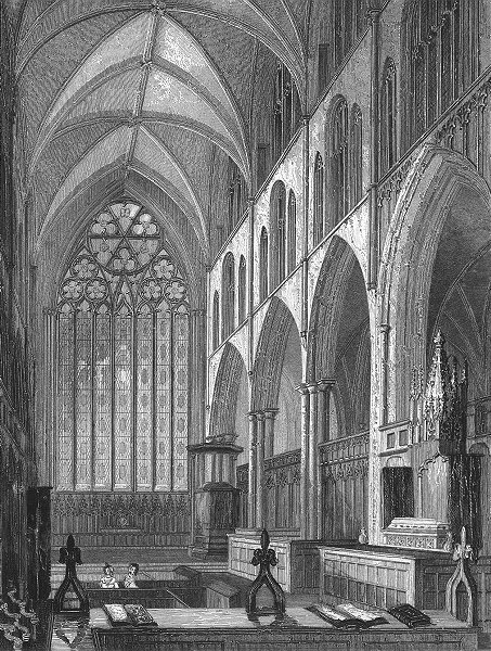 Associate Product YORKS. Ripon Cathedral choir 1836 old antique vintage print picture