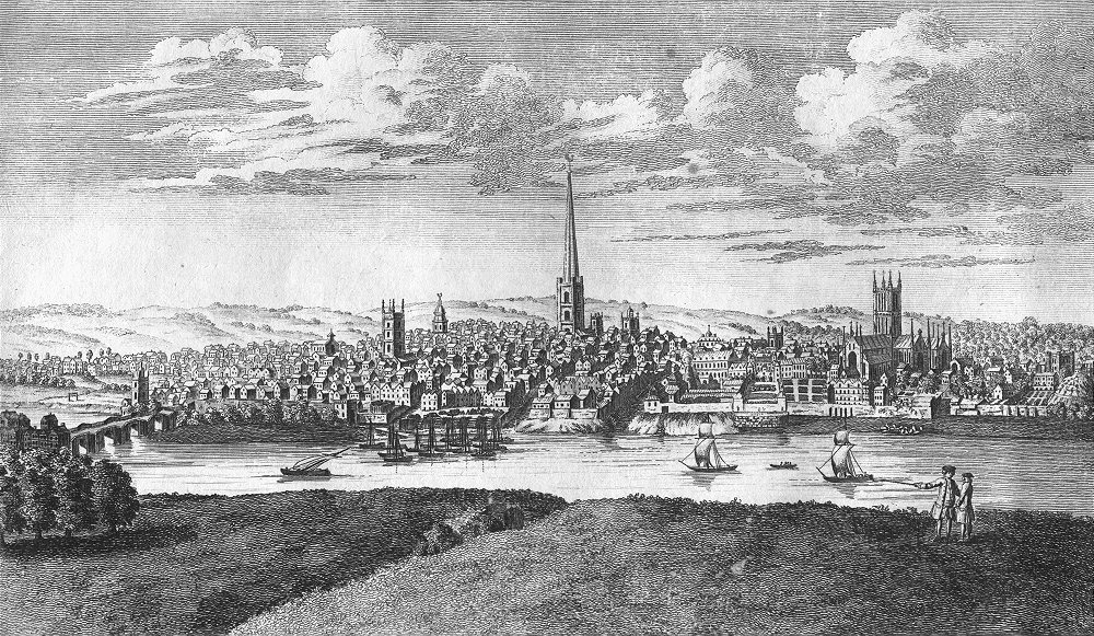 Associate Product WORCS. Perspective city & cathedral of Worcester 1771 old antique print