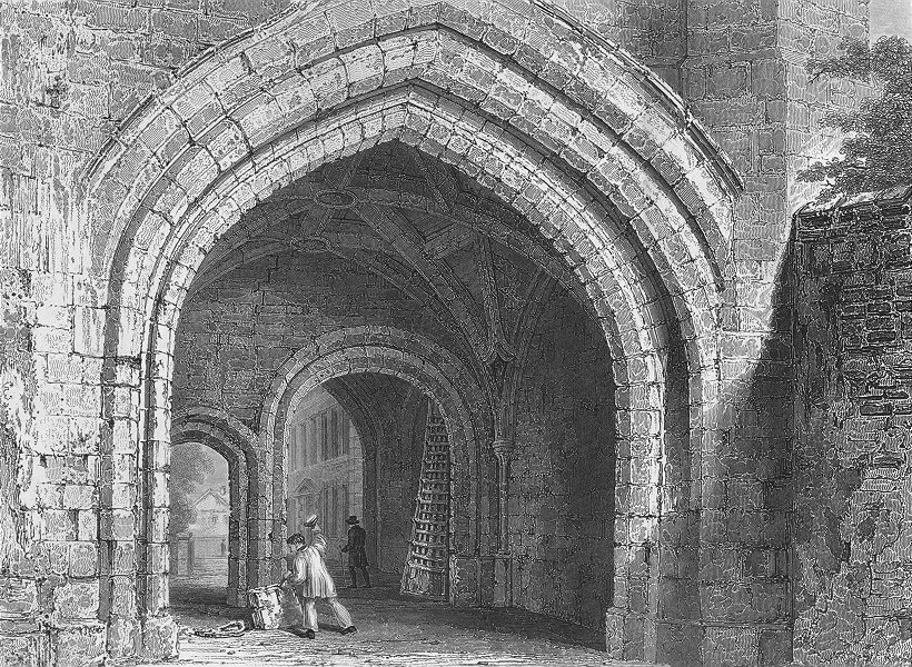 Associate Product WORCESTER. Gate-way, Edgar's Tower, looking west. Fine 1836 old antique print
