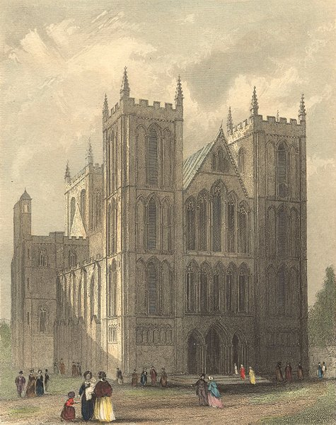Associate Product YORKS. Ripon Cathedral NW view 1850 old antique vintage print picture