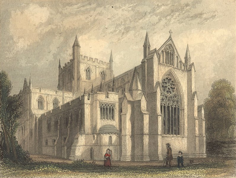 YORKS. Ripon Cathedral east view 1850 old antique vintage print picture