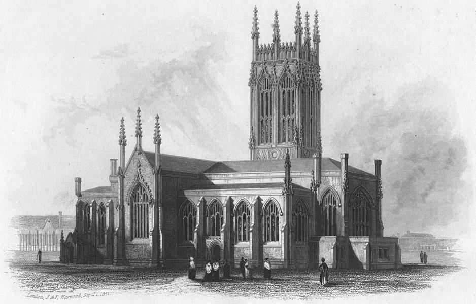 Associate Product YORKS. St Peter's(Parish)Church, Leeds c1855 old antique vintage print picture