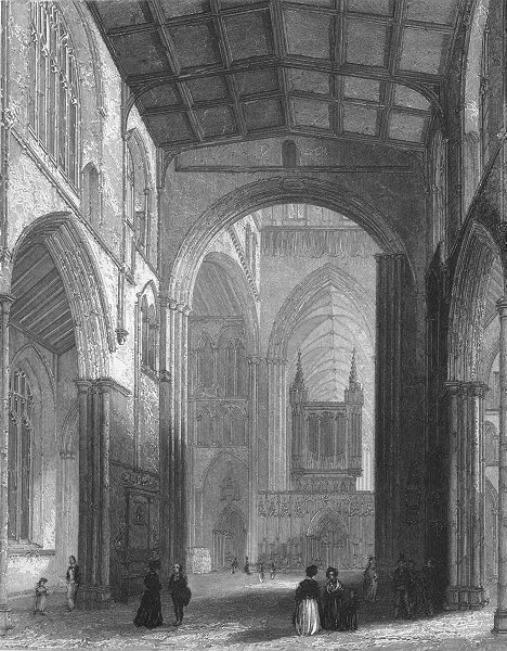 Associate Product YORKS. Ripon Cathedral nave 1836 old antique vintage print picture