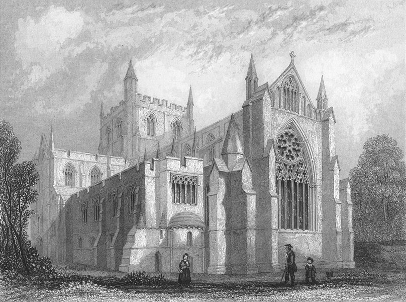 Associate Product YORKS. Ripon Cathedral east view 1836 old antique vintage print picture