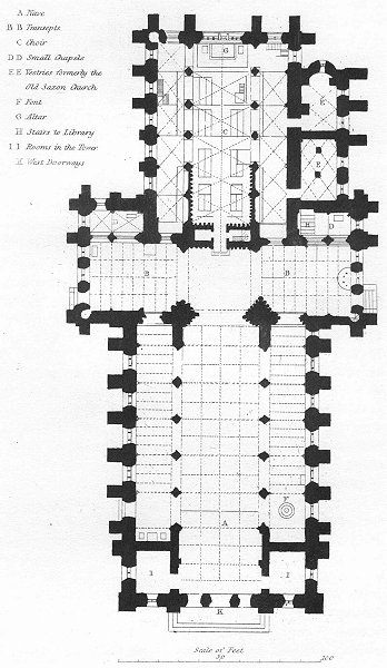 Associate Product YORKS. Plan Ripon Cathedral 1836 old antique vintage print picture