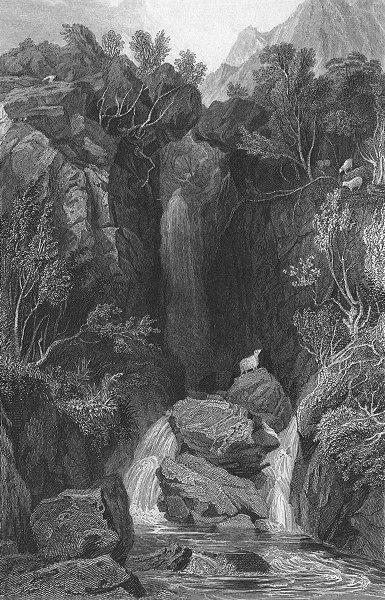 Associate Product WESTMORLAND. Dungeon Gill. Allom. Waterfall Sheep 1832 old antique print