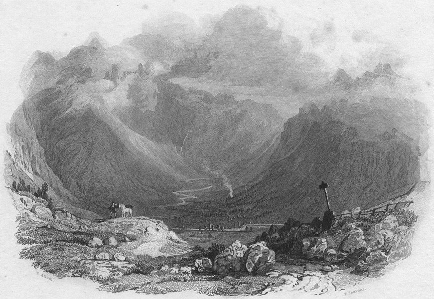 Associate Product CUMBS. Langdale Pikes, Westmorland. Allom 1832 old antique print picture