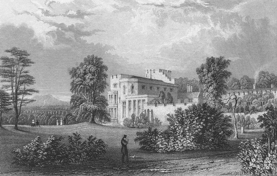 WESTMORLAND. Brougham Hall. Allom. Lone Figure Dog 1832 old antique print