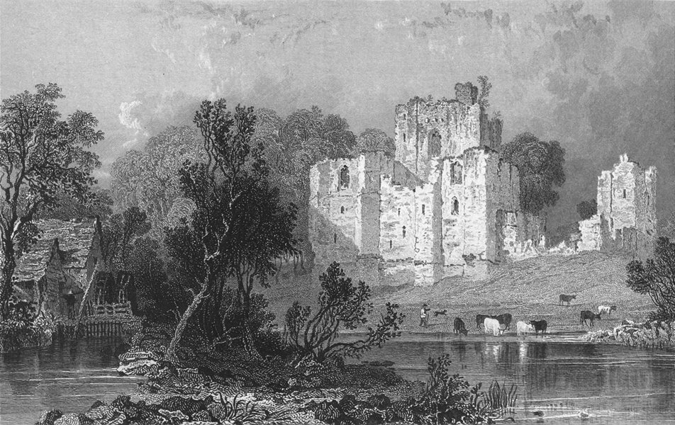 Associate Product WESTMORLAND. Brougham Castle. Ruins Water-mill cows 1832 old antique print