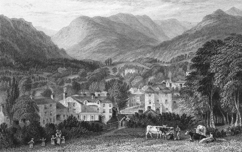 Associate Product AMBLESIDE. Westmorland. Houses cows Children Playing 1832 old antique print