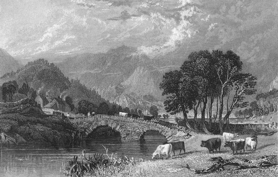 Associate Product PATTERDALE. bridge, Westmorland. Allom. cows Crossing 1832 old antique print