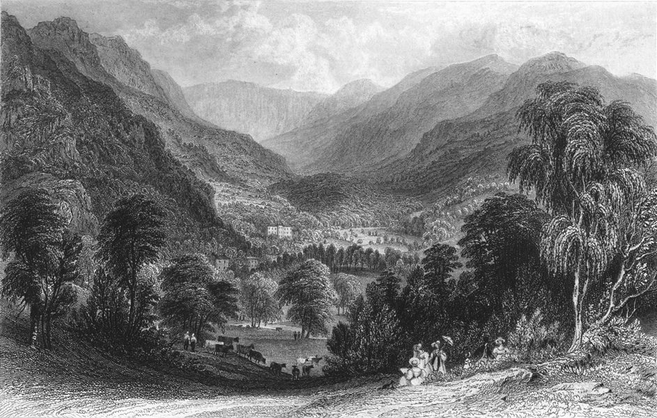Associate Product CUMBS. Rydal Hall from fox how, Westmorland. Allom 1832 old antique print