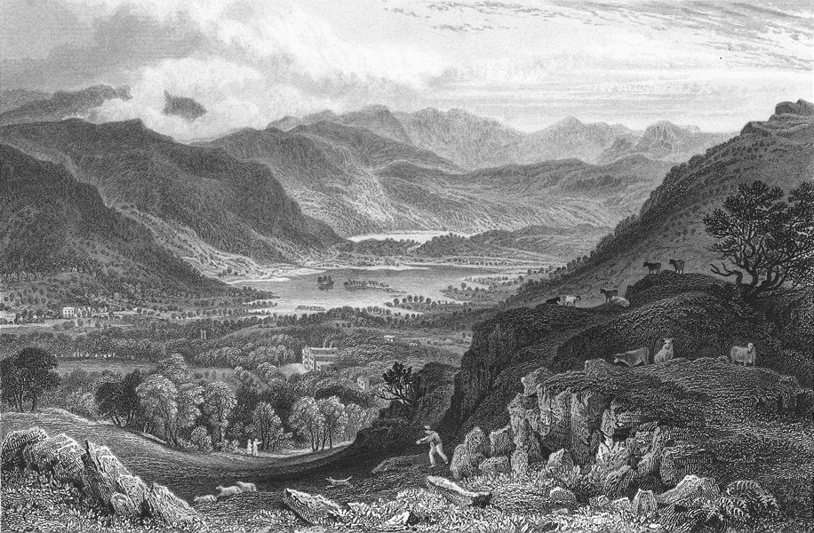 Associate Product RYDAL. water Grasmere, from Park, Westmorland.  1832 old antique print picture