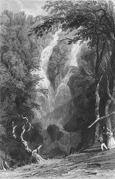 Associate Product WESTMORLAND. Stock-Gill Force. Allom. Waterfall 1832 old antique print picture
