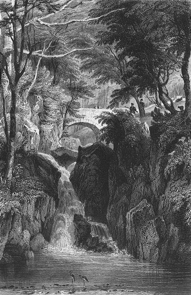 Associate Product RYDAL. Lower Fall, Westmorland. Allom. Waterfall 1832 old antique print