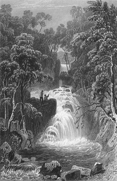Associate Product RYDAL. Upper fall, Westmorland. Waterfall Woodland 1832 old antique print