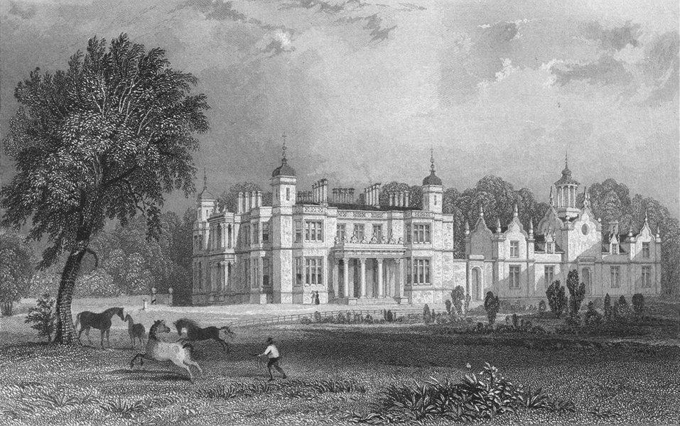 Associate Product WESTMORLAND. Underlay Hall. Allom. Horses Figure 1832 old antique print