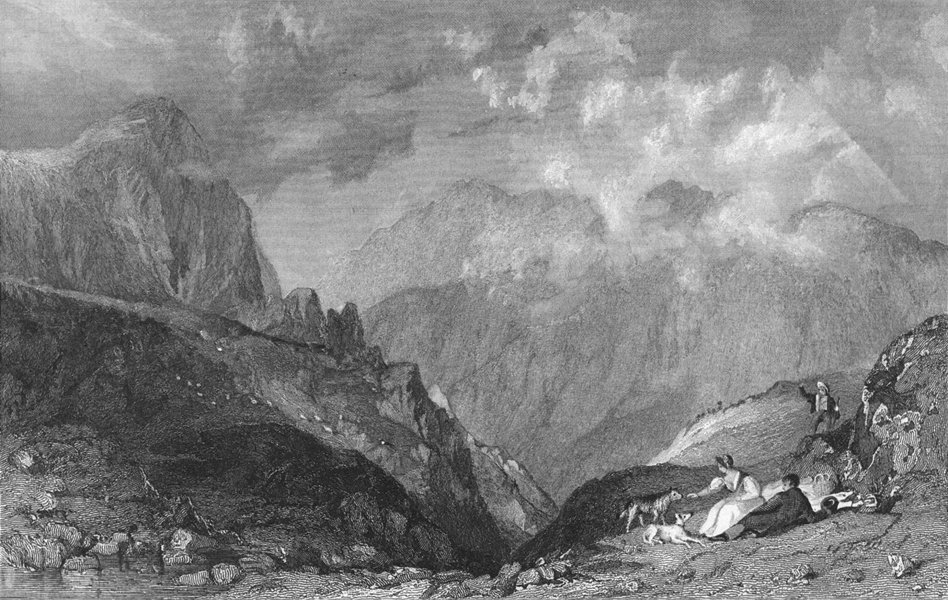 Associate Product CUMBS. View from Langdale Pikes, towards Bowfell 1832 old antique print