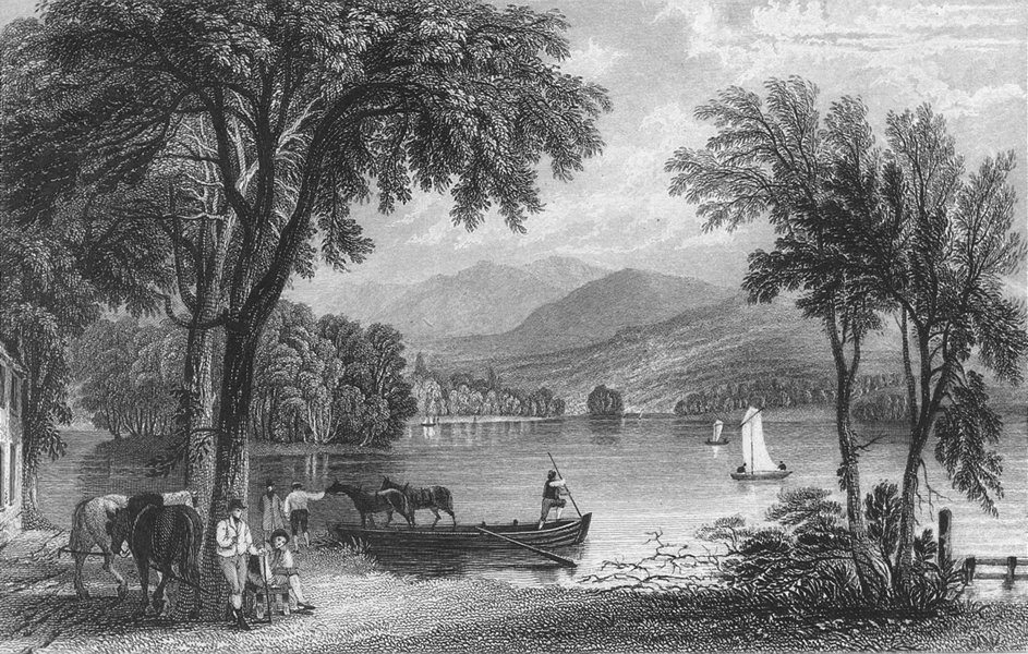 Associate Product WINDERMERE. lake, Ferry House. Westmorland Allom 1832 old antique print