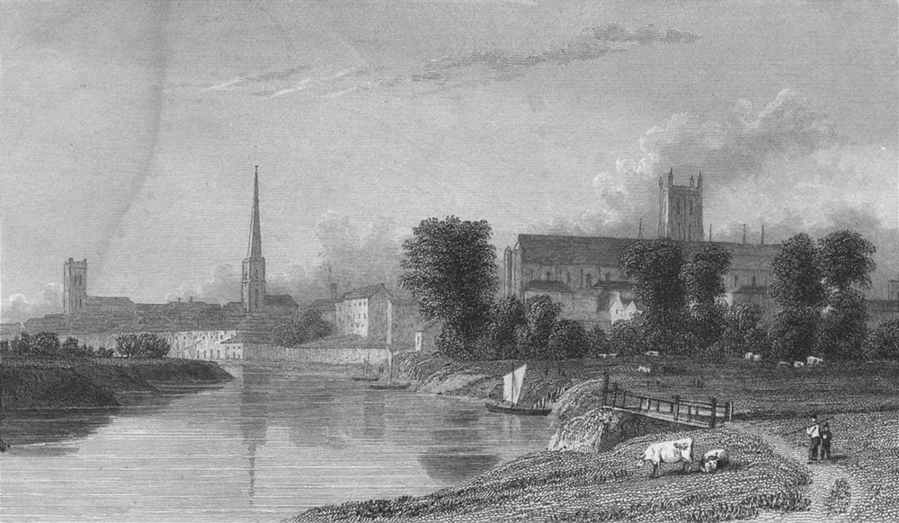 Associate Product WORCS. Worcester. Westall 1830 old antique vintage print picture