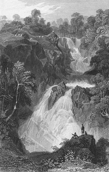 Associate Product WESTMORLAND. Colwith Force. Allom. Waterfall 1832 old antique print picture
