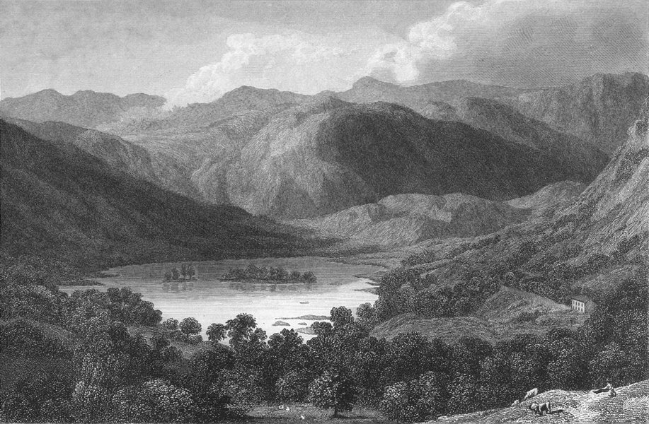 Associate Product CUMBS. Gt Rydal lake. Westmorland. Westall-Finden 1832 old antique print