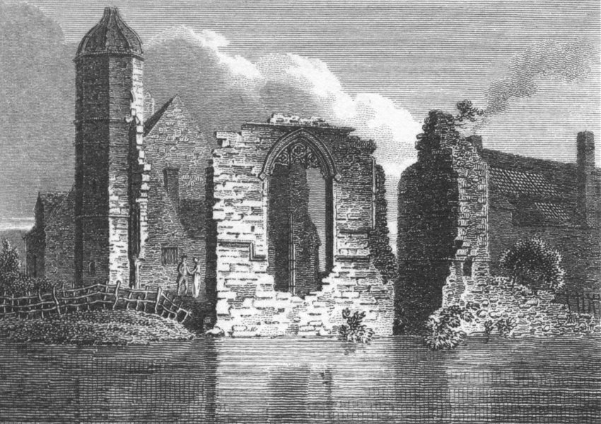 Associate Product WORCS. Dudley Priory, Staffordshire 1812 old antique vintage print picture