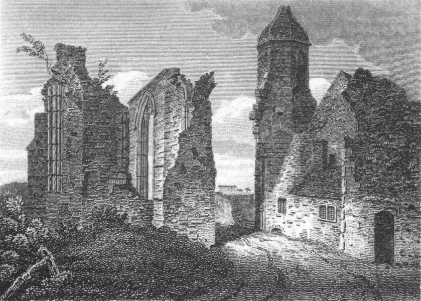 Associate Product WORCS. Remains Dudley Priory 1812 old antique vintage print picture