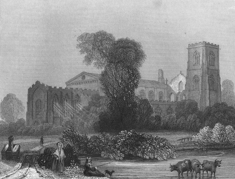 WALES. Llandaff Cathedral NE view 1836 old antique vintage print picture