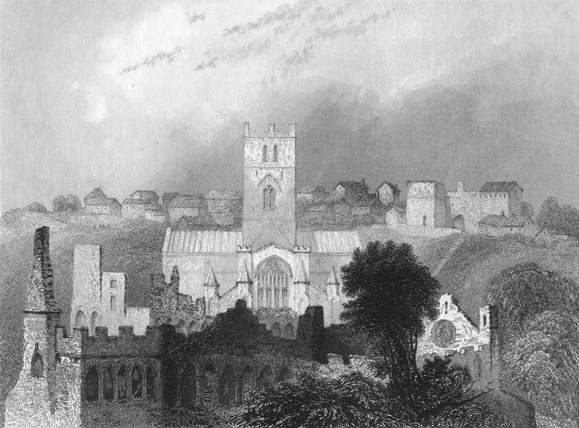 Associate Product ST DAVID'S. Cathedral ancient Bishop's Palace 1836 old antique print picture
