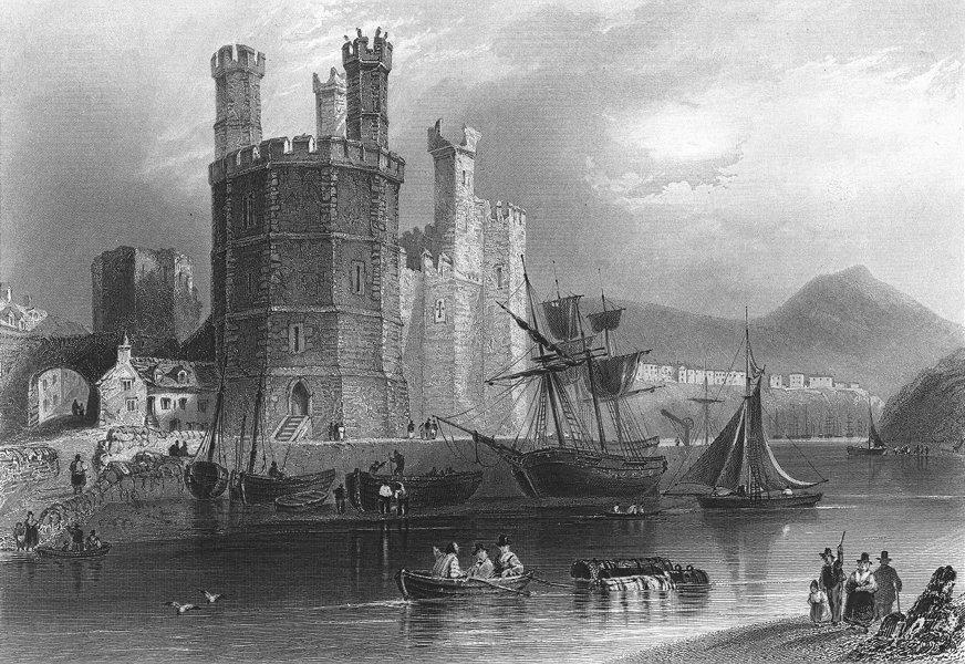 Associate Product CAERNARFON. Eagle Tower, Castle. Bartlett Gastineau 1850 old antique print
