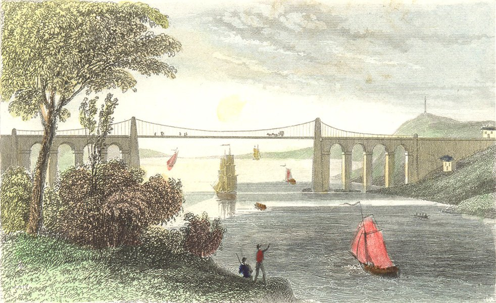 Associate Product BANGOR. Suspension bridge, Caernarfonshire. DUGDALE 1835 old antique print